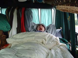 Andy waking up in the van